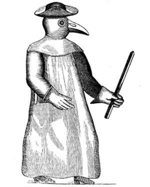 Uniforma za liječnike specijalizirane za liječenje kuge (foto: Wikimedia Commons)