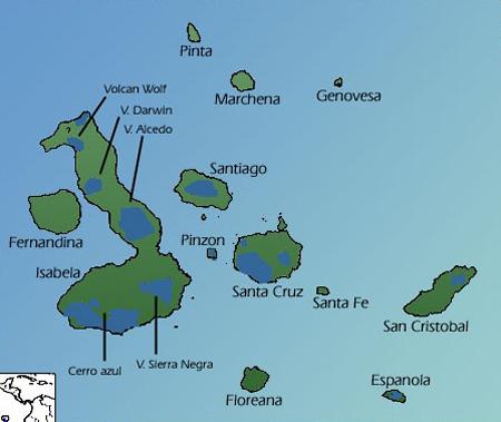 Distribucija kornjača na otočju Galapagos (foto: Wikimedia Commons)
