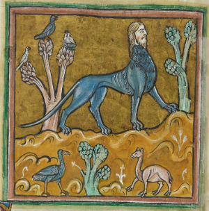 Prikaz Mantikore u Rochesterskom bestijariju, 13. st. (izvor: Wikimedia Commons)